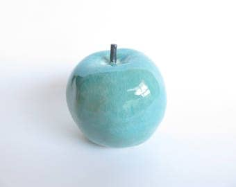 Pre-order, Apple, Ceramic sculpture, apple fruits, turquoise blue glaze, Ceramics and Pottery, home decoration