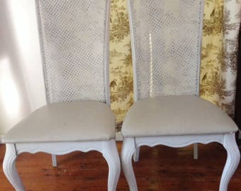 Matching French country look dining chairs