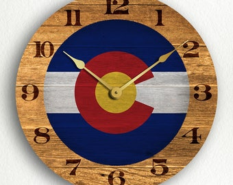 Colorado State Flag Traditional Style Silent Wall Clock
