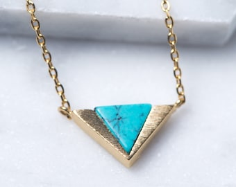 Gold Triangle Necklace, Turquoise Lapis Necklace, Gold Dainty Necklace, Turquoise Necklace, Triangle Necklace, Layered Necklace N347