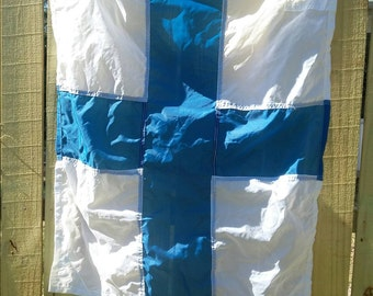 FREE SHIPPING for Vintage Large White German Navy Nautical Sailing Signal Flag