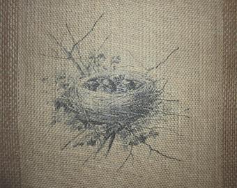 Baby Birds Nest Burlap Picture