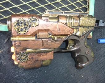 Modified STEAMPUNK Nerf Gun Blaster w/Darts - No Air Restrictor!