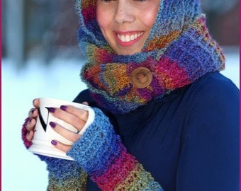 Handmade Crocheted Warm Waffles Hooded Cowl and Handwarmers Set