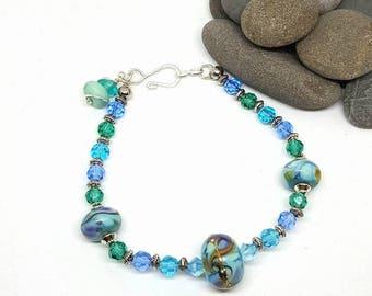 Caribbean Blue Bohemian Bracelet - Caribbean Blue Bracelet - Bohemian Bracelet - Blue Bracelet