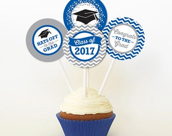 Graduation Cupcake Toppers, PRINTABLE, Royal Blue and Gray, 2 or 2.25 Inch, Graduation Favor Tags, 2017