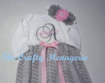 Baby Girl Gown, Coming Home Gown, Newborn Gown, Newborn Dress, Baby Girl Dress, Optional Hat, Headband or Burp Cloths