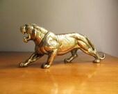 Vintage Brass Tiger Figurine, Gold Tiger Paperweight, Tiger Statue, Asian Animal Figure, Large