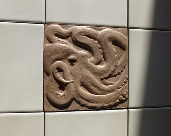 Concrete Octopus Tile 6 x 6 Inch