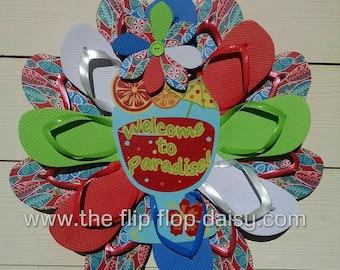 Welcome to Paradise Flip Flop Wreath Summer Fun Door Decor Beachy Coastal Florida Unique Gift