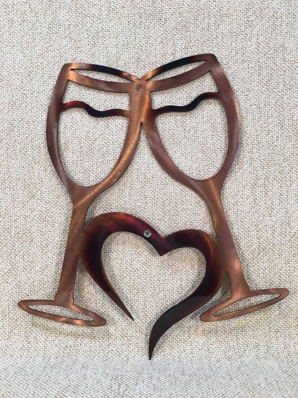 wine glasses w heart metal wall art bar or kitchen decor. Black Bedroom Furniture Sets. Home Design Ideas