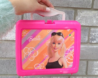 90s hot pink barbie doll hard lunch box