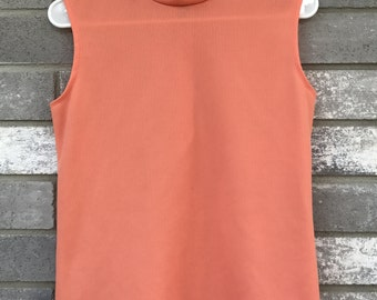 70s peach coral turtleneck tank top