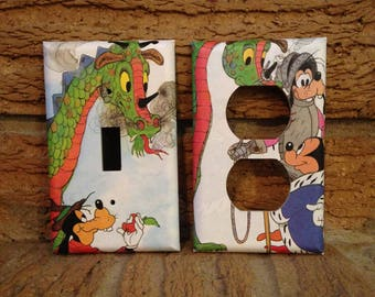 Mickey Mouse and Goofy Electrical Outlet and Light Switch Cover, Mickey Mouse Decor, Goofy Decor, Decoration, Nursery, Classic Cartoon
