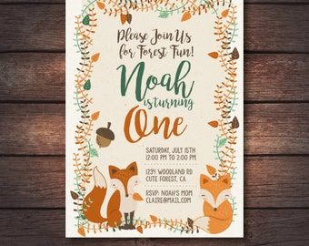 Woodland First Birthday Invitation, Woodland Invite, Woodland Printables, Forest Invitation, Woodland Birthday Party Digital Invitation