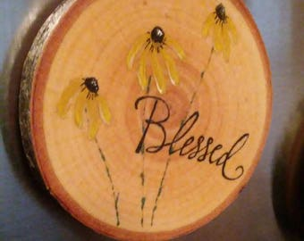 Wooden disc Blackeyed Susan Magnet