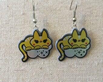 Super Kawaii Cat on Clouds Earrings