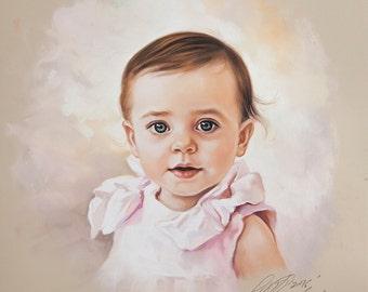 Pastel portrait of a girl, Head and shoulders portrait.
