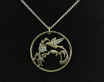 Vintage Hand Cut Bird of Paradise Coin Necklace  (JT5)