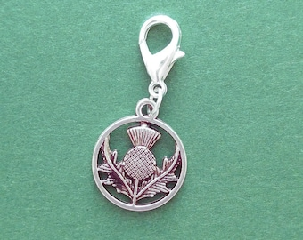 Scottish thistle crochet stitch marker. Silver plated with 14mm lobster claw clasp. Hand made by Kathryn of Crafternoon Treats