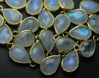 925 Sterling Silver Vermeil,Rainbow Moonstone Faceted Pear Shape Pendant,10 Piece of 16mm