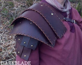 Single Shoulder Armour in Leather for Larp, Cosplay or Costume