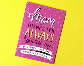Funny Mothers Day Card, Funny Mother's Day Card, Mother's Day Card, Mothers Day Card, Mum Card, Mom Card, Thanks Mom, Mom Birthday
