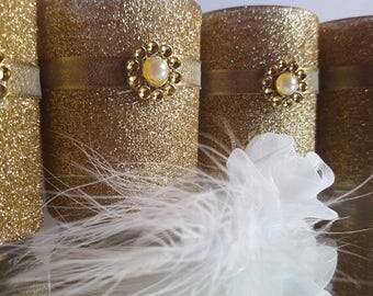 Gold glitter votives great for weddings anniversaries birthdays