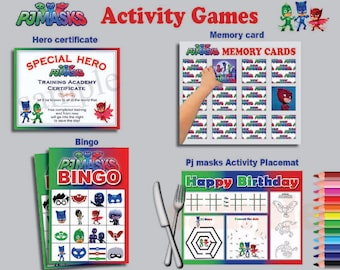 Instand DL - PJ Masks 4 games activity  - Bingo +  calling cards + certificate + placemat + memory card Printable (NOT editable)
