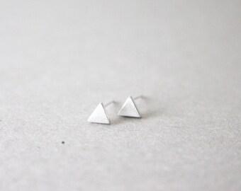Silver Triangle Earrings - 925 Sterling Silver Triangle Earrings