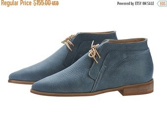 ON SALE Denim Blue handmade Leather Chukka Boots / nika