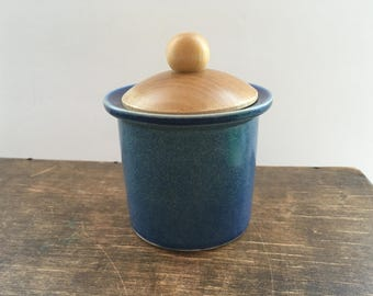 Vintage Swedish jar by Gustavsberg Stig Lindberg Pharmacy jar Blue ceramic jar with wooden lid