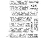 Days Of The Week Planner Stamp Set - BUJO Bullet Journal Stamps - Clear Acrylic - Hero Arts - Kelly Purkey - 256940
