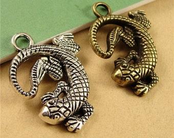 BULK 15pcs Lizard Charms Vintage Alloy Animal Charm Reptile Pendants Jewelry Findings Supplies