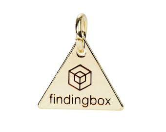 Gold Triangle Jewelry Tag, Laser Engraved Logo on Triangle Tags Sequins, 15x15mm, 19 Gauge, Pkg of 100 PCS, F14N.GO01.P100.C