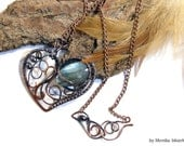 Danelea- wire wrapped necklace, labradorite, copper, handmade