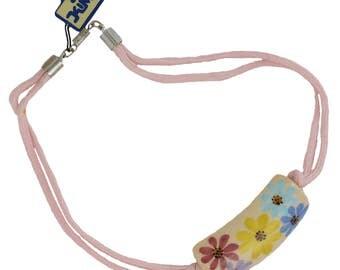 Vintage Kim Craftsmen Spring Flowers Choker Collar Necklace Hand Painted Pendant