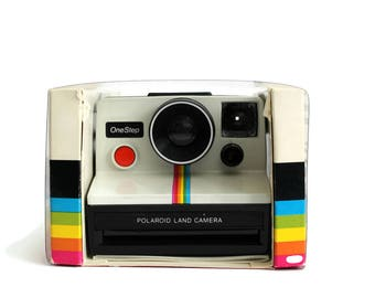Vintage Rainbow Polaroid Land Camera One Step in Original Box with Manual