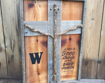 Three Strands Reclaimed Wood Sign