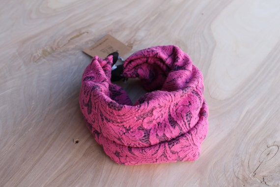 Baby infinity scarf bib- bright pink floral sweater