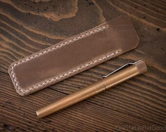 Pen Sleeve, Size Medium, Horween Chromexcel leather - natural CXL