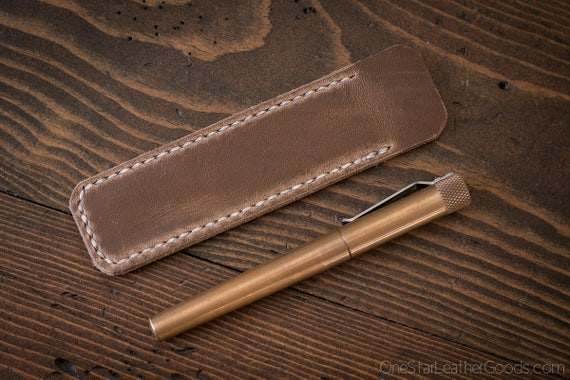 Pen Sleeve, Size Medium, Horween Chromexcel leather - natural CXL