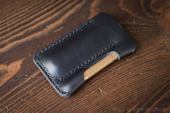 "EDC pocket knife and pen case ""the EDC1"" in Horween Essex veg tanned leather - black"