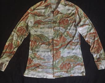 Vintage 1970's Psychedelic Polyester Button Down Shirt