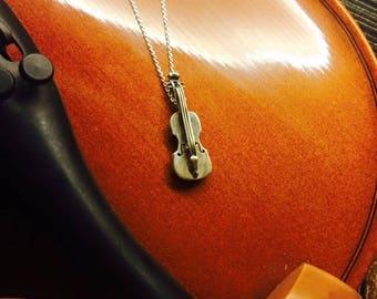 Silver Violin Necklace