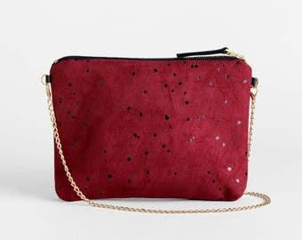 Red Shoulder Bag and Clutch Purse - Vegan Suede Burgundy Evening Bag - Printed Small Crossbody Bag - Dots Shoulder Bag - Vegan Suede Clutch
