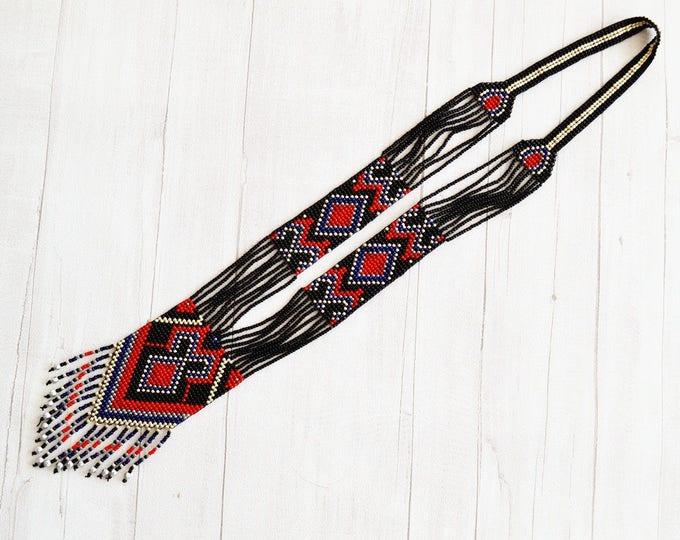 fringe necklace, ukrainian necklace, ethnic necklace, kuchi necklace, gerdan necklace, long bead necklace, chandelier necklace, seed bead