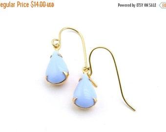 20% OFF Sale Vintage Glass Earrings, Opaque Light Blue Earrings, Wedding Earrings