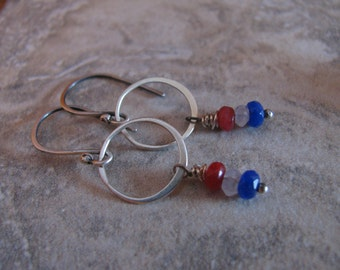 Moonstone and Candy Jade Sterling Silver Handmade/Hand Forged Dangle Earrings Patriotic America Red White and Blue Jewelry Toniraecreations