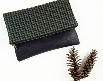 Black Clutch Purse, Foldover Clutch, Handbag, Gift For Her, Birthday Gift, Leather Clutch